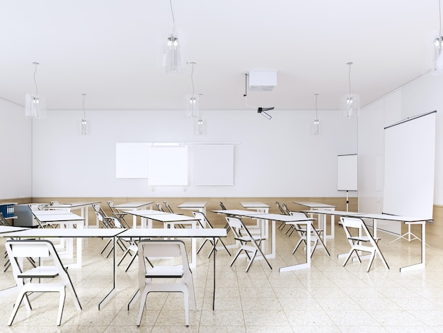 Interior de aula de escuela vacía moderna en color blanco. representación 3d