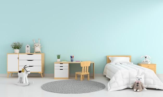 Interior azul claro de la habitación de la cama de los niños para la maqueta