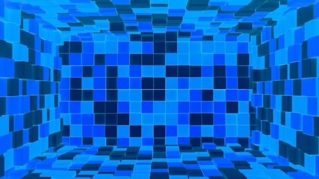 Interior azul oscuro y claro abstracto 3d hecho con fondo de cubos