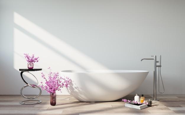 El interior del baño. baño blanco y flores de primavera.
