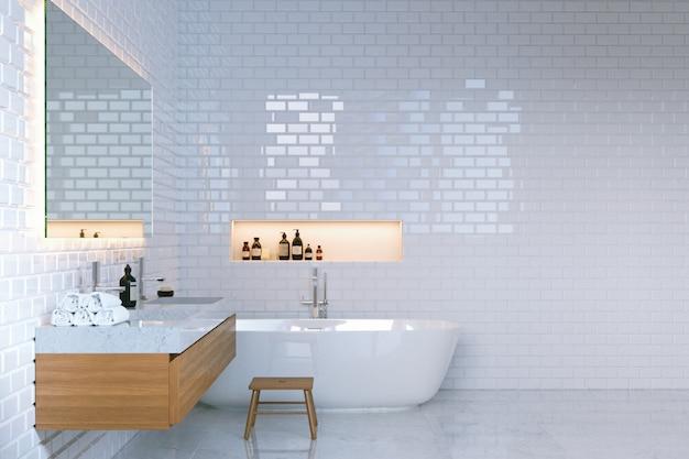 Interior de baño minimalista de lujo con paredes de ladrillo.