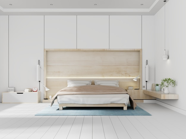 Interior blanco dormitorio moderno brillante con pared de madera