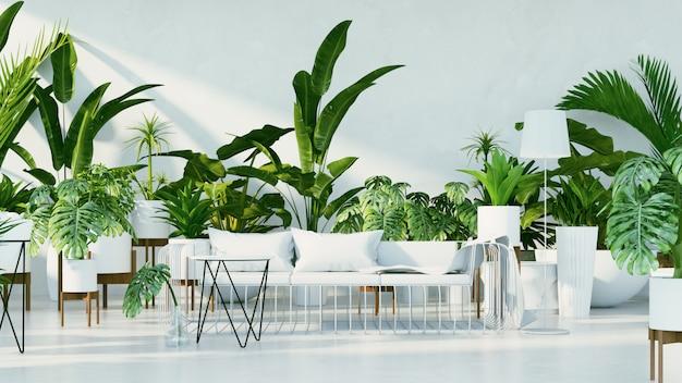 Interior botánico - sala de diseño tropical.