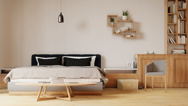 Interior con cama en dormitorio con pared blanca. representación 3d.