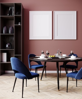 Interior de la casa con maqueta de póster, maqueta de pared en el interior del comedor, render 3d