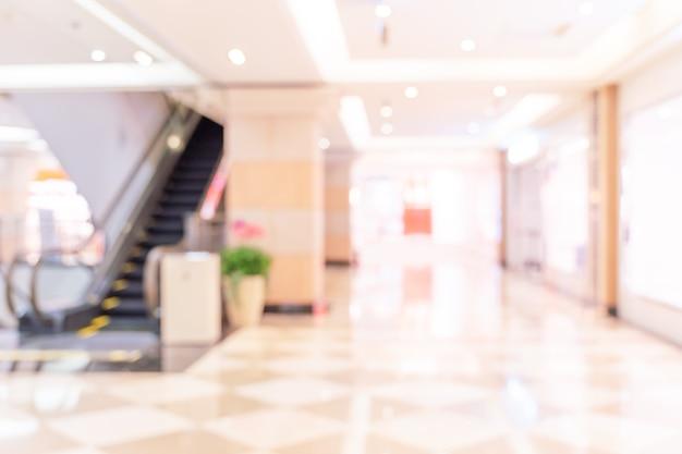 Interior de centro comercial de grandes almacenes de lujo, desenfoque desenfocado abstracto con fondo bokeh, concepto de diseño de temporadas de compras