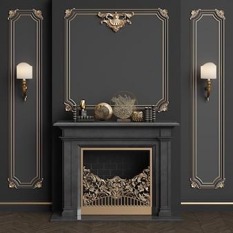 Interior clásico con chimenea.