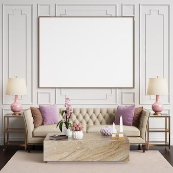 Interior clásico en colores pastel. sofá con lámparas, mesa con decoración. paredes con molduras ... representación 3d