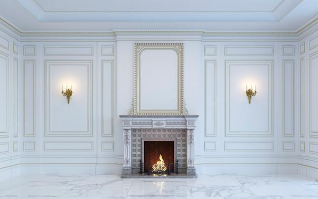 Un interior clásico es en tonos claros con chimenea. representación 3d