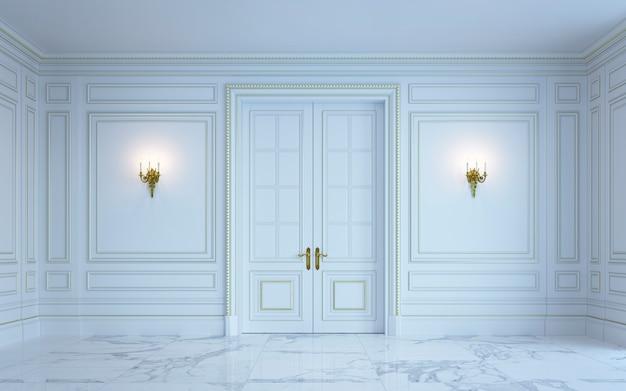 Un interior clásico es en tonos claros. representación 3d