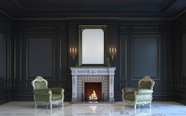 Un interior clásico es en tonos oscuros con chimenea. representación 3d