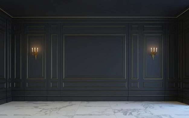 Un interior clásico es en tonos oscuros. representación 3d