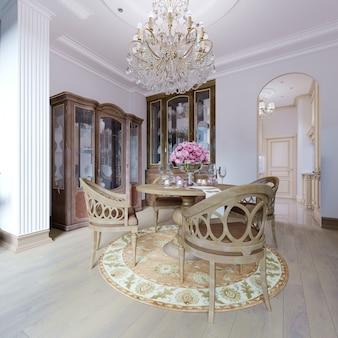 Interior clásico de lujo de comedor, cocina y sala de estar con muebles marrones y candelabros de cristal. representación 3d
