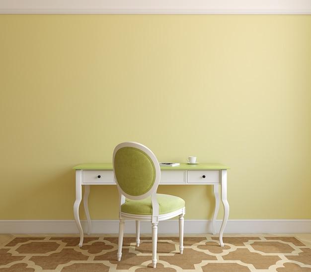 Interior clásico de la oficina en casa. render 3d.