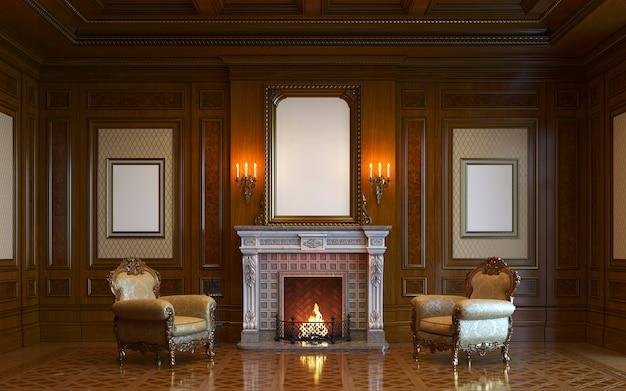 Un interior clásico con paneles de madera y chimenea. render 3d