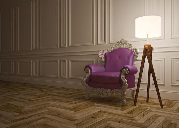 Interior clásico con sillón, lámpara de pie y paneles de pared.