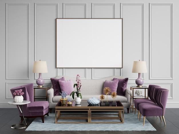 Interior clásico sofá, sillas, mesillas con lámparas, mesa con decoración. paredes blancas con molduras. suelo de parquet en espiga. representación 3d