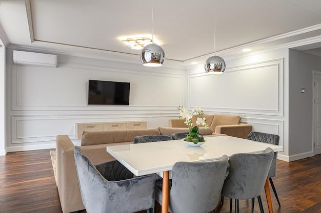 Interior de cocina clásico contemporáneo gris y blanco diseñado en estilo moderno como parte del apartamento tipo estudio