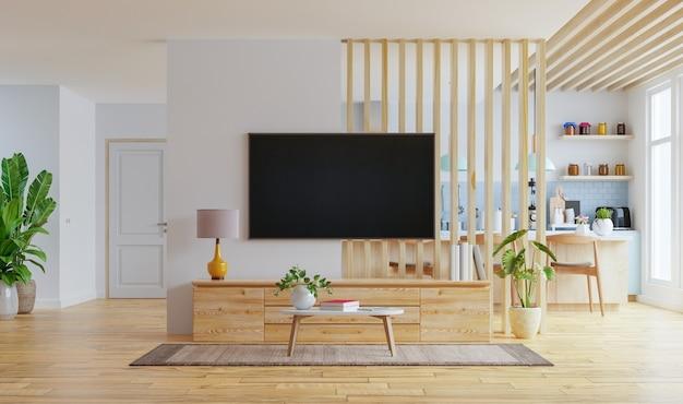 Interior de cocina moderna con muebles y tv montada en la pared de una sala de estar con una pared blanca. representación 3d
