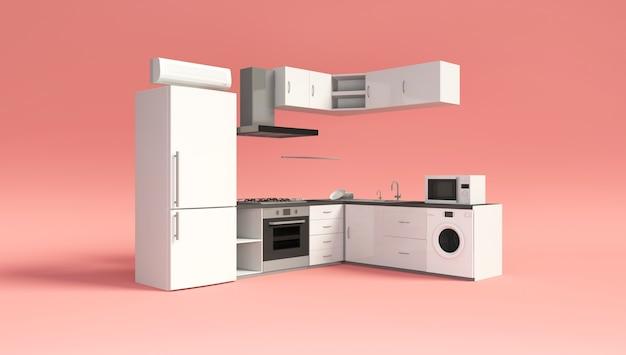 Interior de cocina moderna sobre fondo rosa studio