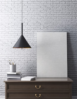 Interior contemporáneo con mesa, carteles, lámparas de techo, póster con pared de ladrillo blanco. representación 3d