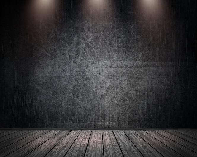 Interior de la habitación 3d grunge con focos que brillan