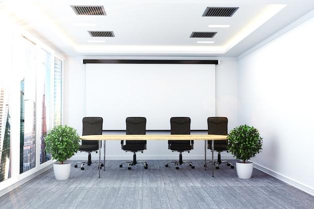 Interior de la oficina con palnts mesa y sillas en sala moderna reunión. representación 3d