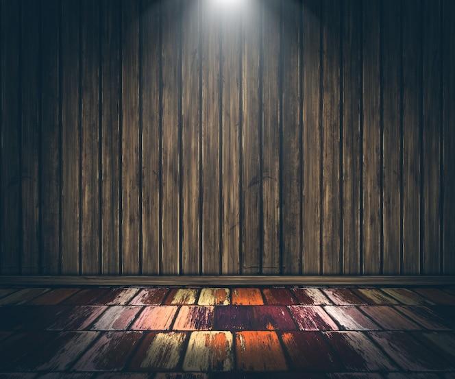 Interior de madera 3d grunge con reflector que brilla hacia abajo
