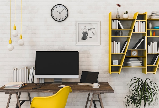 Interior del área de trabajo con computadora de escritorio. representación 3d