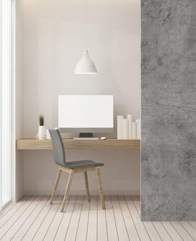 Interior del espacio del café y decoración de la pared - representación 3d