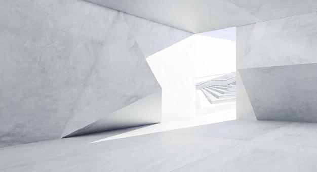 Interior de diseño de hormigón de patrón geométrico futurista abstracto. representación 3d.