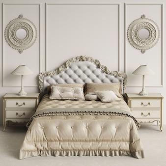 Interior de dormitorio clásico con espacio de copia. maqueta. ilustración digital. representación 3d