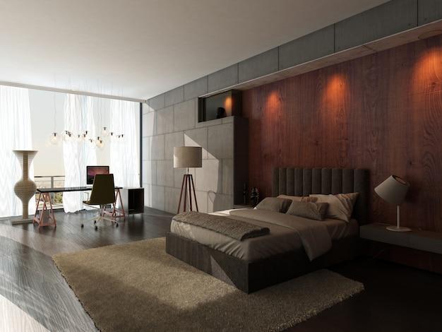 Interior de dormitorio de diseño moderno.