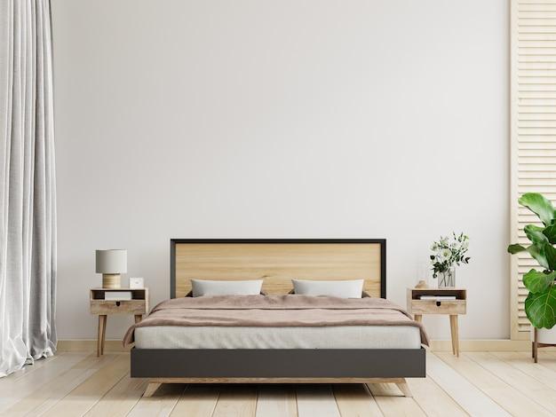 Interior del dormitorio en estilo de casa de campo, maqueta de pared blanca, renderizado 3d
