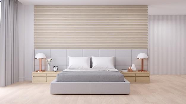Interior de dormitorio con estilo minimalista moderno.