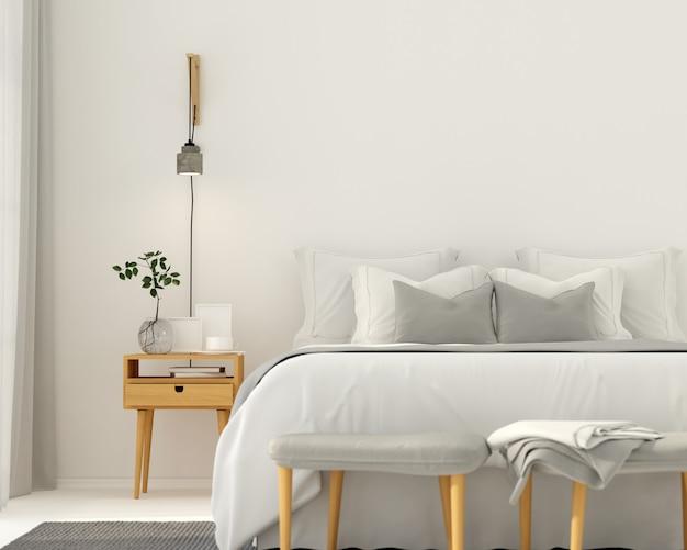 Interior de dormitorio gris claro moderno