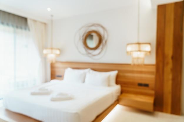 Interior de dormitorio de hotel borroso abstracto