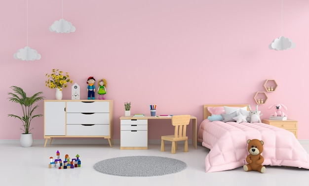 Interior de dormitorio infantil rosa para maqueta.