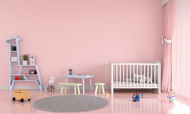Interior de dormitorio infantil rosa