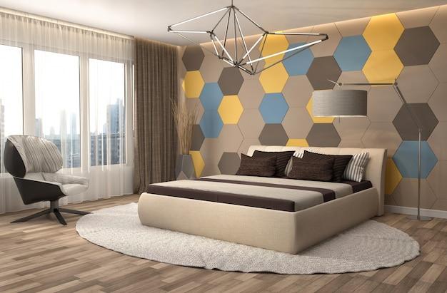 Interior de dormitorio de lujo moderno.