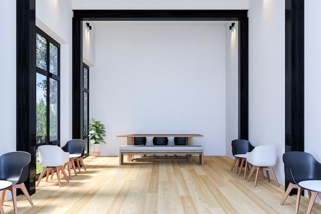Interior de elegante cafetería con mesa larga