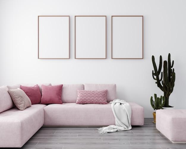 Interior elegante de la luminosa sala de estar con sofá rosa y cactus. maqueta de salón interior. habitación de diseño moderno con luz natural. representación 3d