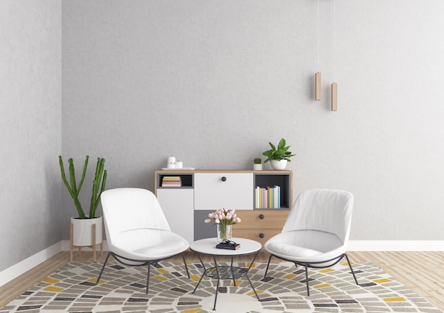 Interior escandinavo - fondo de sala de estar