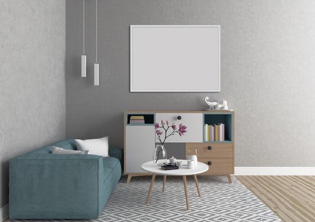 Interior escandinavo con marco horizontal blanco
