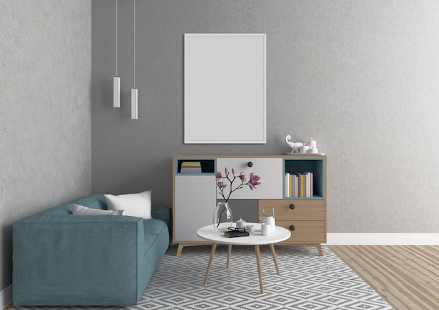 Interior escandinavo con marco vertical blanco