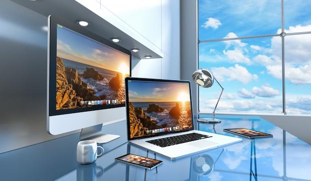 Interior de escritorio de vidrio moderno con renderizado 3d de computadora y dispositivos