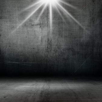 Interior de estilo grunge 3d con reflector que brilla hacia abajo