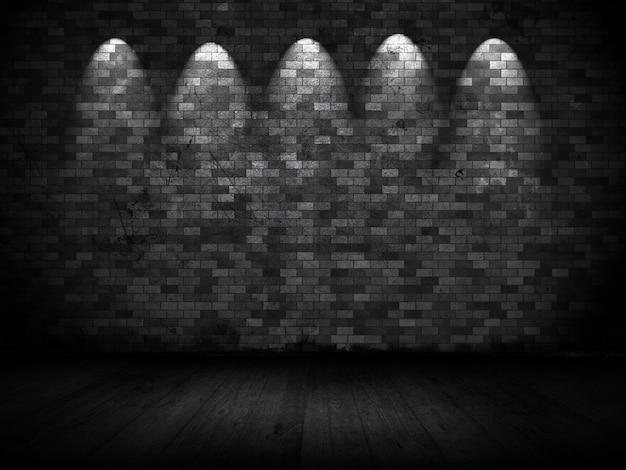 Interior de estilo grunge con focos contra la pared de ladrillo antiguo