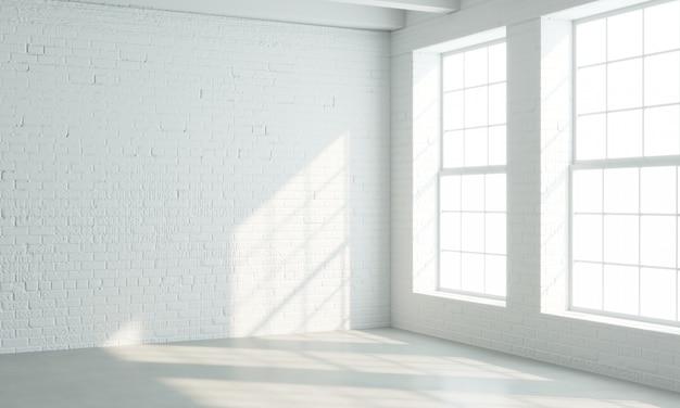 Interior de estilo loft con ventanas blancas.