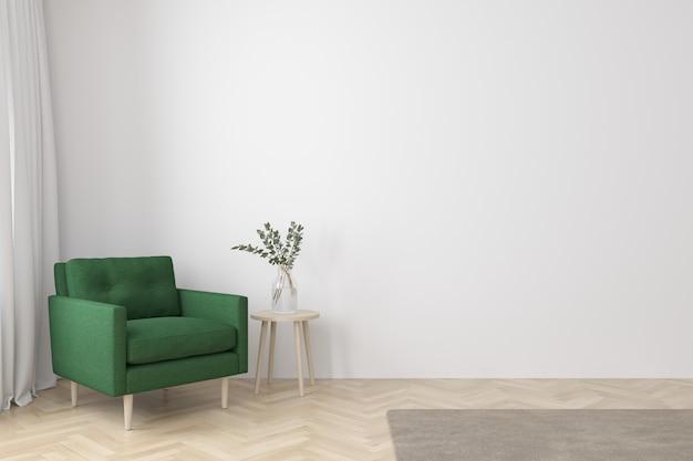 Interior del estilo moderno de la sala de estar con sillón de tela, mesa auxiliar y pared blanca vacía en el piso de madera